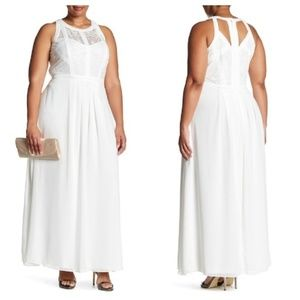City Chic Lace Illusion Neck White Maxi Dress